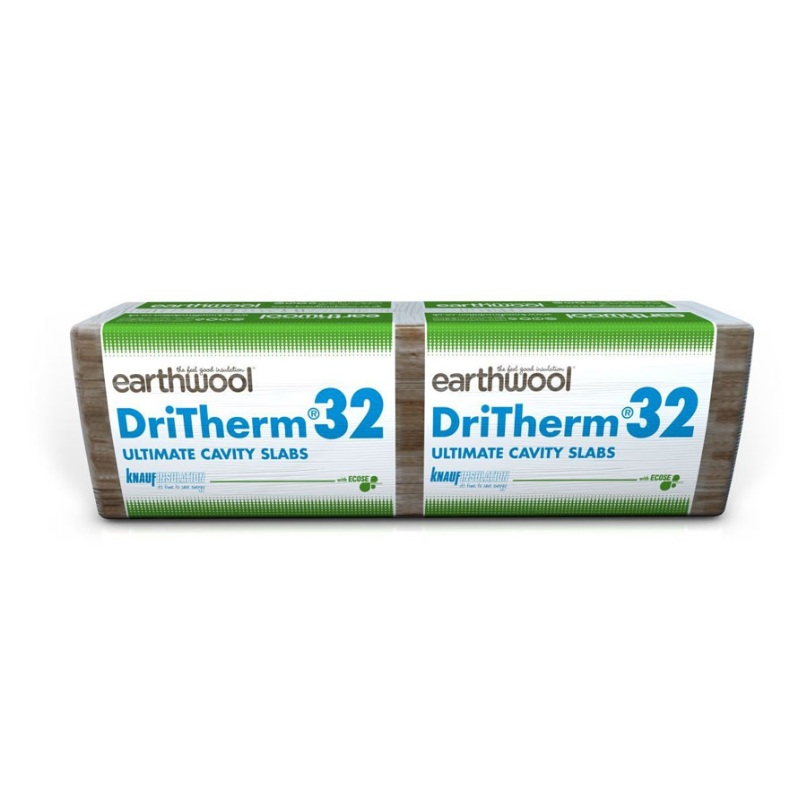 Knauf Earthwool DriTherm 32 Ultimate Cavity Wall Slab Insulation 100mm 3.28m2 Per Pack