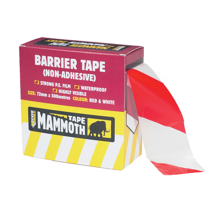 500m x 75mm Red and White Barrier Tape