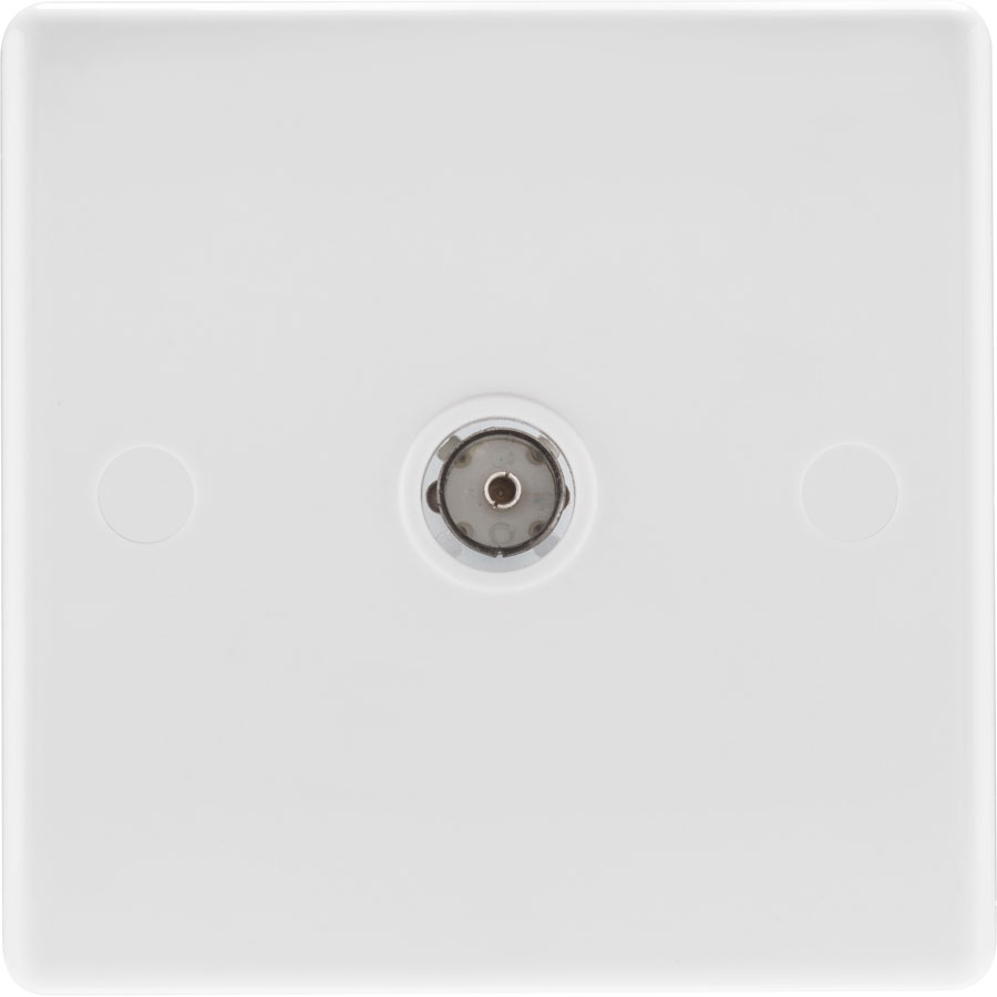 British General 860 White Round Edge 1 Gang Coaxial TV Socket