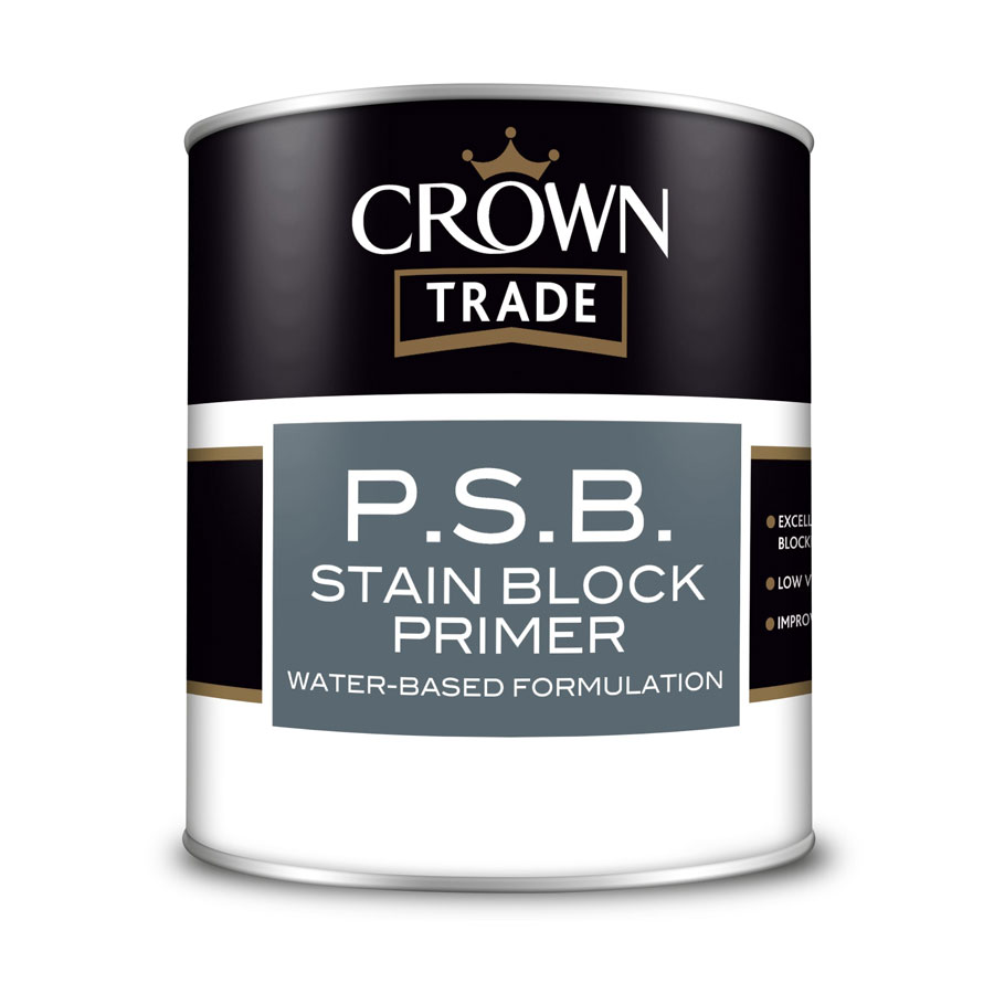 Crown Trade P.S.B Stain Block White Primer 1 Ltr