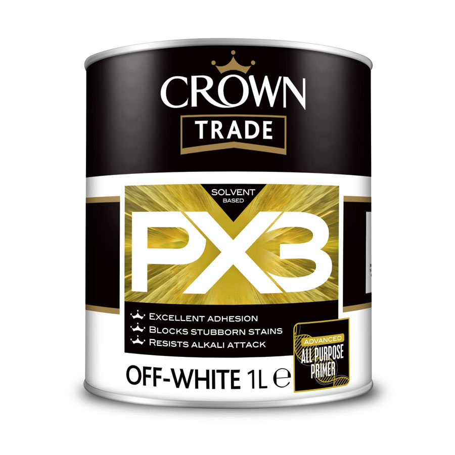 Crown Trade Alkali Solvent Based PX3 Off White Primer 1 Ltr