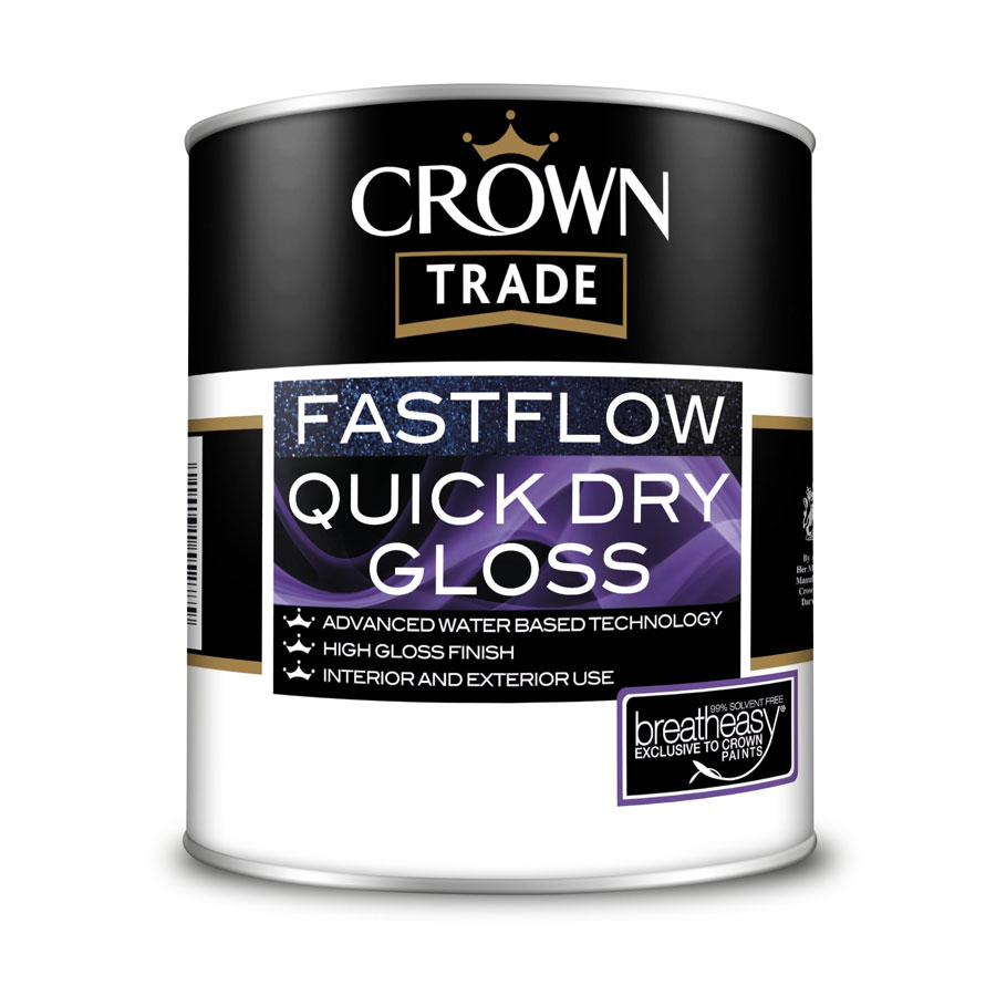 Crown Trade Fast Flow Quick Dry Gloss White 1 Ltr