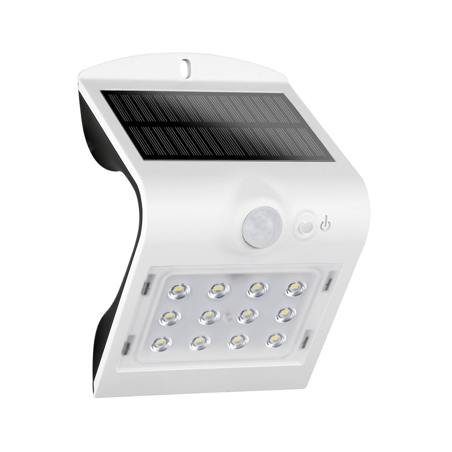 Luceco LEXS22W40 White 1.5W 220lm IP65 Exterior Solar LED Wall Light