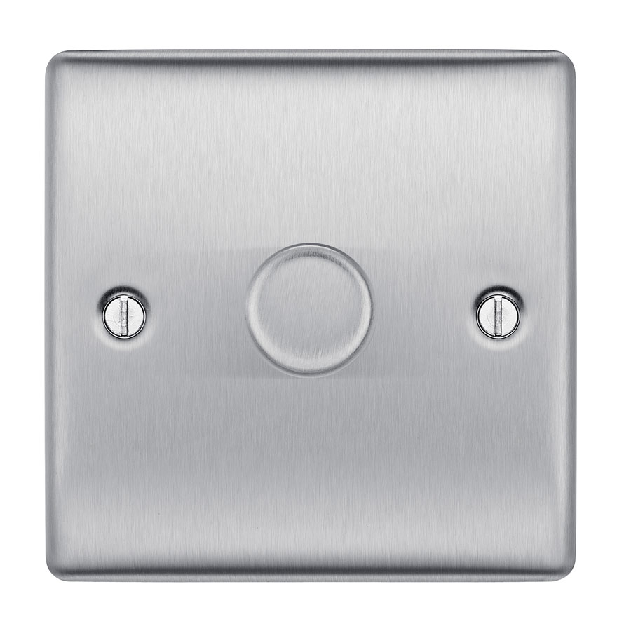 British General Nexus Metal NBS81P Brushed Steel 400W 1 Gang 2 Way Push Dimmer Switch