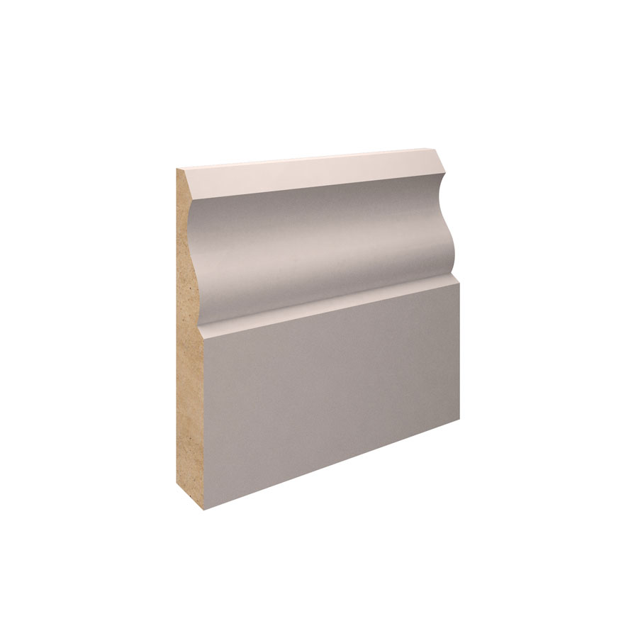 18mm x 125mm x 5.4m Ogee Primed MDF Skirting Board